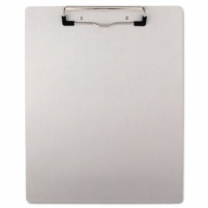 "Plastic Brushed Aluminum Clipboard, Portrait, 1/2"" Capacity, 8 1/2 x 11"