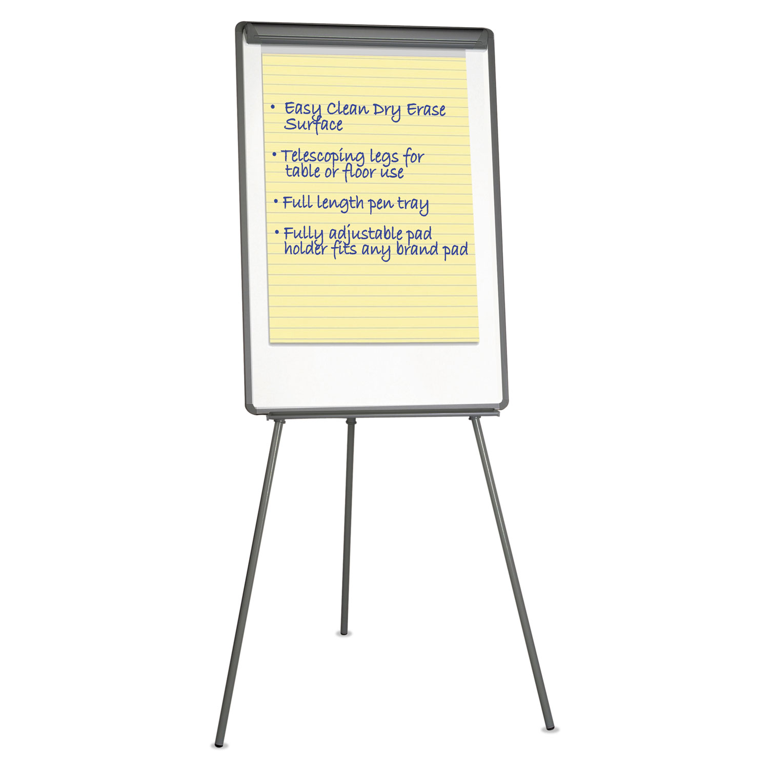 Lightweight Tripod Style Dry Erase Easel, 29 x 41, White/Black
