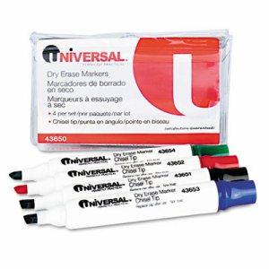 Dry Erase Markers, Chisel Tip, Assorted, 4/Set