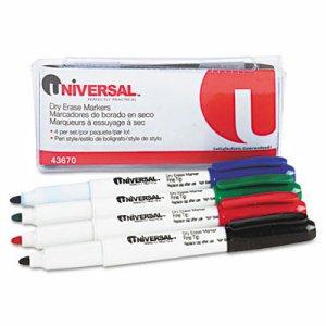 Pen Style Dry Erase Markers, Fine/Bullet Tip, Assorted, 4/Set