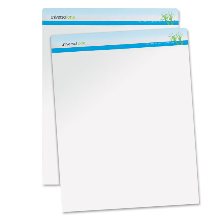 Sugarcane Based Easel Pads, Unruled, 27 x 34, White, 50 Sheets, 2 Pads/Pack