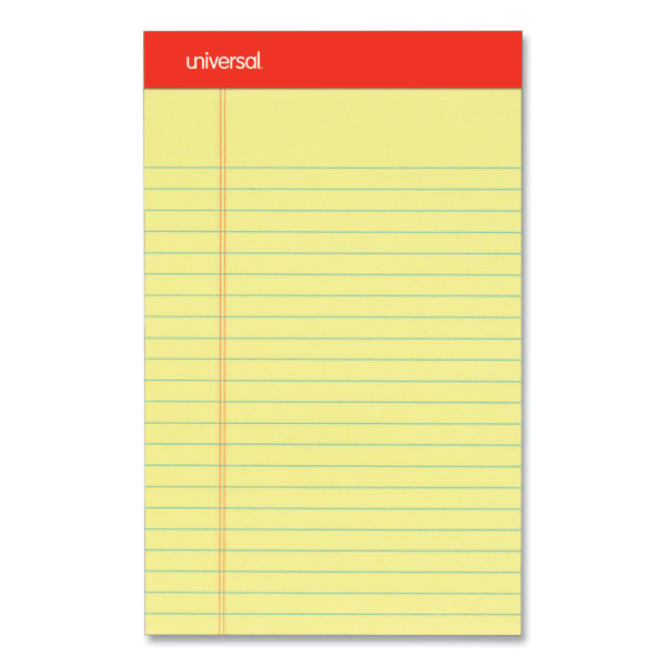 Perforated Edge Writing Pad, Narrow Rule, 5 x 8, Canary, 50 Sheet, Dozen