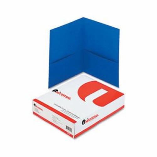 Two-Pocket Portfolio, Embossed Leather Grain Paper, Light Blue, 25/Box