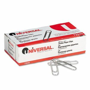 Nonskid Paper Clips, Wire, Jumbo, Silver, 1000/Pack