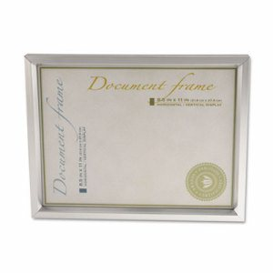 Plastic Document Frame, for 8 1/2 x 11, Easel Back, Metallic Silver