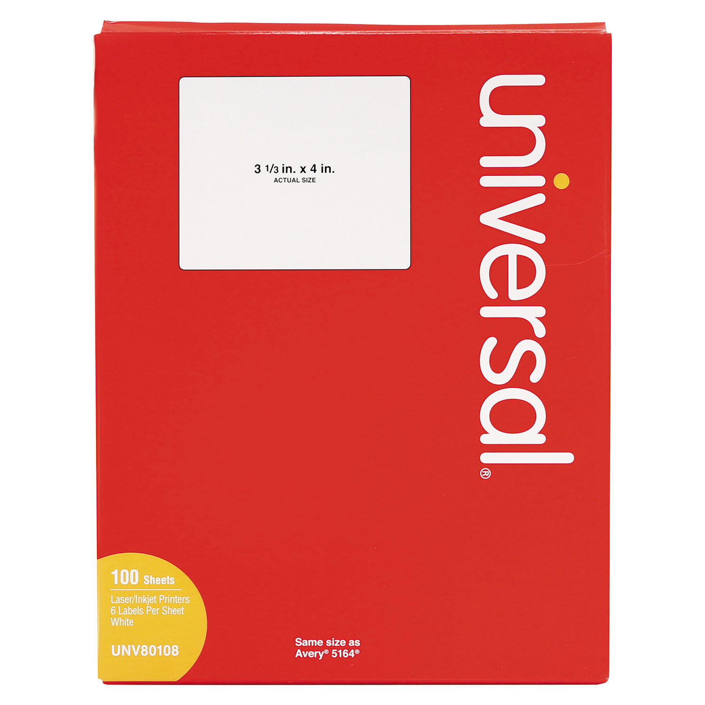 Laser Printer Permanent Labels, 3 1/3 x 4, White, 600/Box