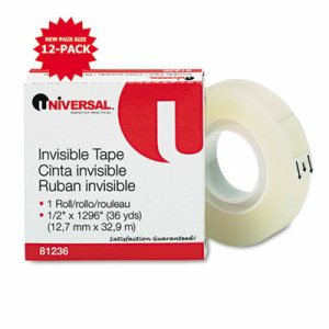 "Invisible Tape, 1/2"" x 1296"", 1"" Core, Clear"