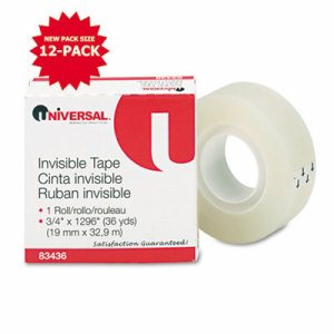 "Invisible Tape, 3/4"" x 1296"", 1"" Core, Clear"