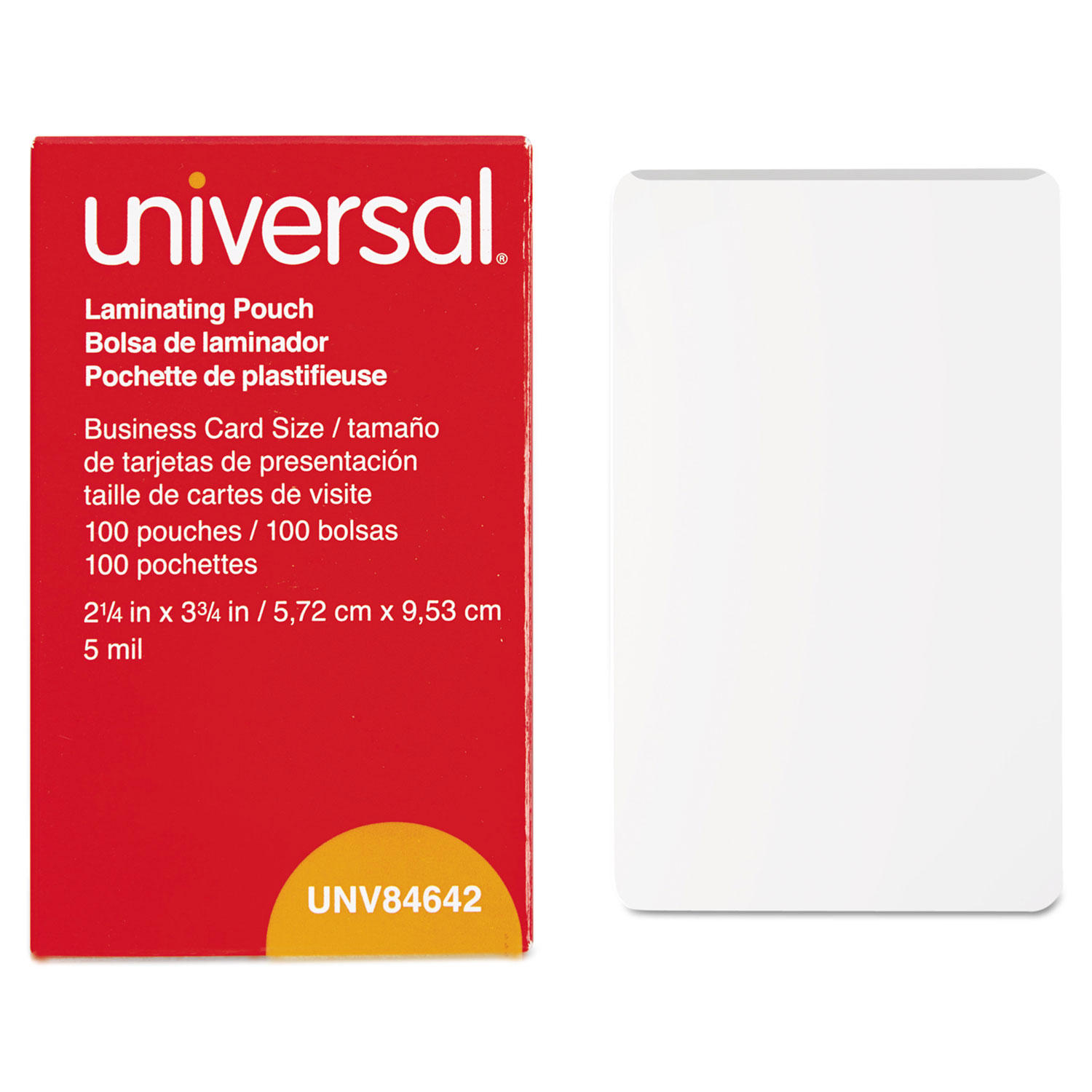 Clear Laminating Pouches, 5 mil, 2 1/4 X 3 3/4, Business Card Size, 100/Box