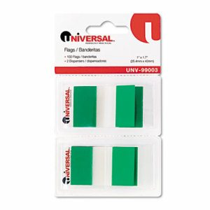 Page Flags, Green, 50 Flags/Dispenser, 2 Dispensers/Pack