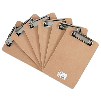 "Hardboard Clipboard with Low-Profile Clip, 1/2"" Capacity, 5 x 8, Brown, 6/Pk"