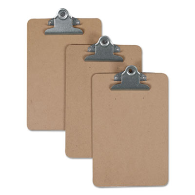 "Hardboard Clipboard, 3/4"" Capacity, 5 x 8 Sheets, Brown"