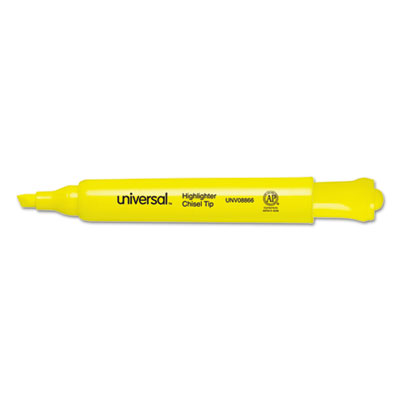 Desk Highlighter, Chisel Tip, Fluorescent Yellow, 36/Pack