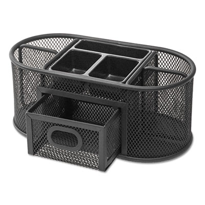 Metal Mesh Oval Desktop Organizer, 9 3/8 x 4 1/8 x 4 3/5, Black