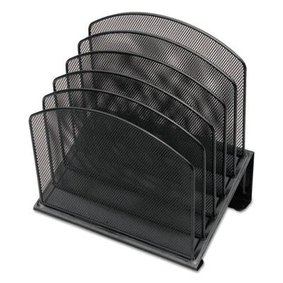 Metal Mesh Tiered File Sorter, 11 1/4 x 7 1/4 x 12, Black