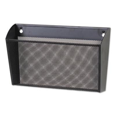 Metal Mesh Wall FileSingle Pocket, 13 3/8 x 3 x 13, Letter, Black