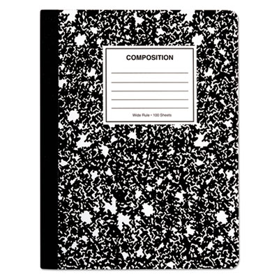 Composition Book, Wide Rule, 9 3/4 x 7 1/2, White, 100 Sheets, 6/Pack