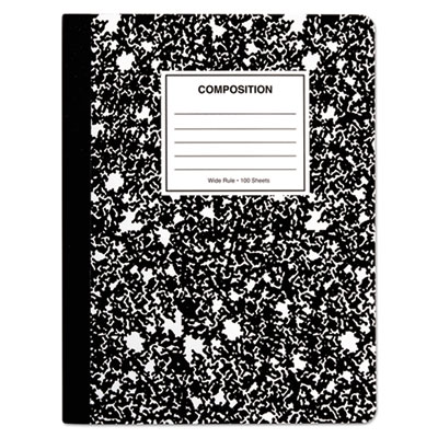 "Quad Rule Composition Book., Quadrille Rule, 7.5"" x 9.75"", 1 Subject, Black"
