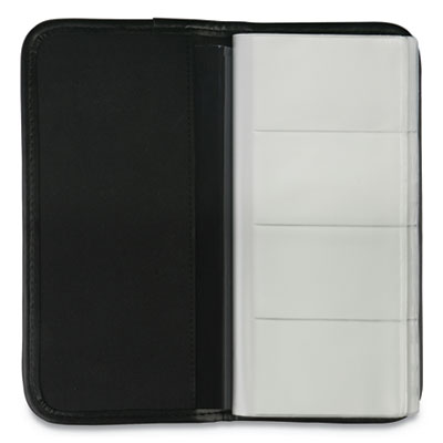 Business Card Holder, Vinyl, Black, 4 3/4 x 10 1/8