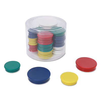 "Assorted Magnets, 3/4"" dai, 1 1/4"" dia, 1 1/2"" dia, Asst Colors, 30/Pack"