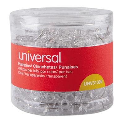 """Clear Push Pins, Plastic, 3/8"""", 400/Pack"""
