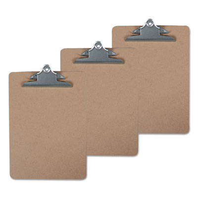 "Hardboard Clipboard, 1"" Capacity, 8 1/2 x 11, Brown, 3/Pack"