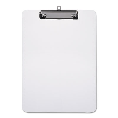 "Plastic Clipboard with Low Profile Clip 1/2"" Capacity, Holds 8 1/2 x 11, Clear"