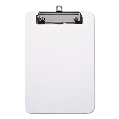 "Plastic Clipboard with Low Profile Clip, 1/2"" Capacity, Holds 5 x 8, Clear"