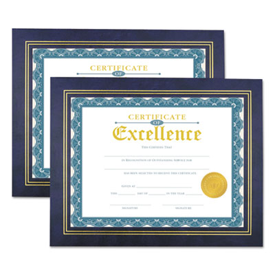 Leatherette Document Frame, Certificate/Document, 11 x 8 1/2, Blue, 2/PK