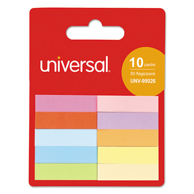 "Self-Stick Page Tabs, 1/2"" x 2"", Assorted Colors, 500/Pack"