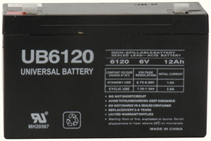 UPG 85992/D5736 Sealed Lead Acid Battery (6V; 12Ah; .187 Tab Terminals; UB6120)
