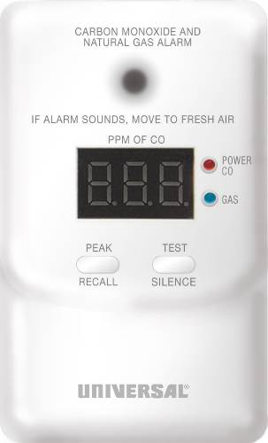 USI PLUG IN COMBINATION CARBON MONOXIDE AND NATURAL GAS DETECTOR WITH DIGITAL DISPLAY AND 9 VOLT BATTERY BACK UP, 120 VOLT