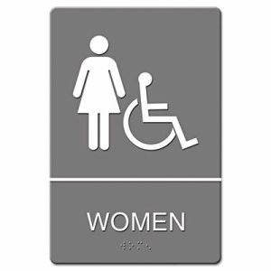 ADA Sign, Women Restroom Wheelchair Accessible Symbol, Molded Plastic, 6 x 9