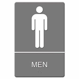ADA Sign, Men Restroom Symbol w/Tactile Graphic, Molded Plastic, 6 x 9, Gray
