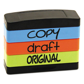 Stack Stamp, COPY, DRAFT, ORIGINAL, 1 13/16 x 5/8, Assorted Fluorescent Ink