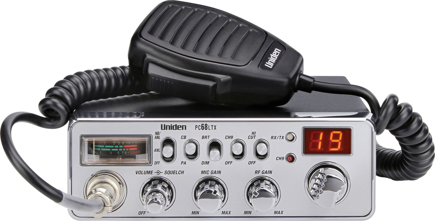 UNIDEN 40 CHANNEL CB RADIO WITH FRONT 4 PIN MICROPHONE, SEPARATE RF & MIC GAIN CONTROLS, NB/HI-CUT FILTERS, PA, BRIGHT/DIM SWITC