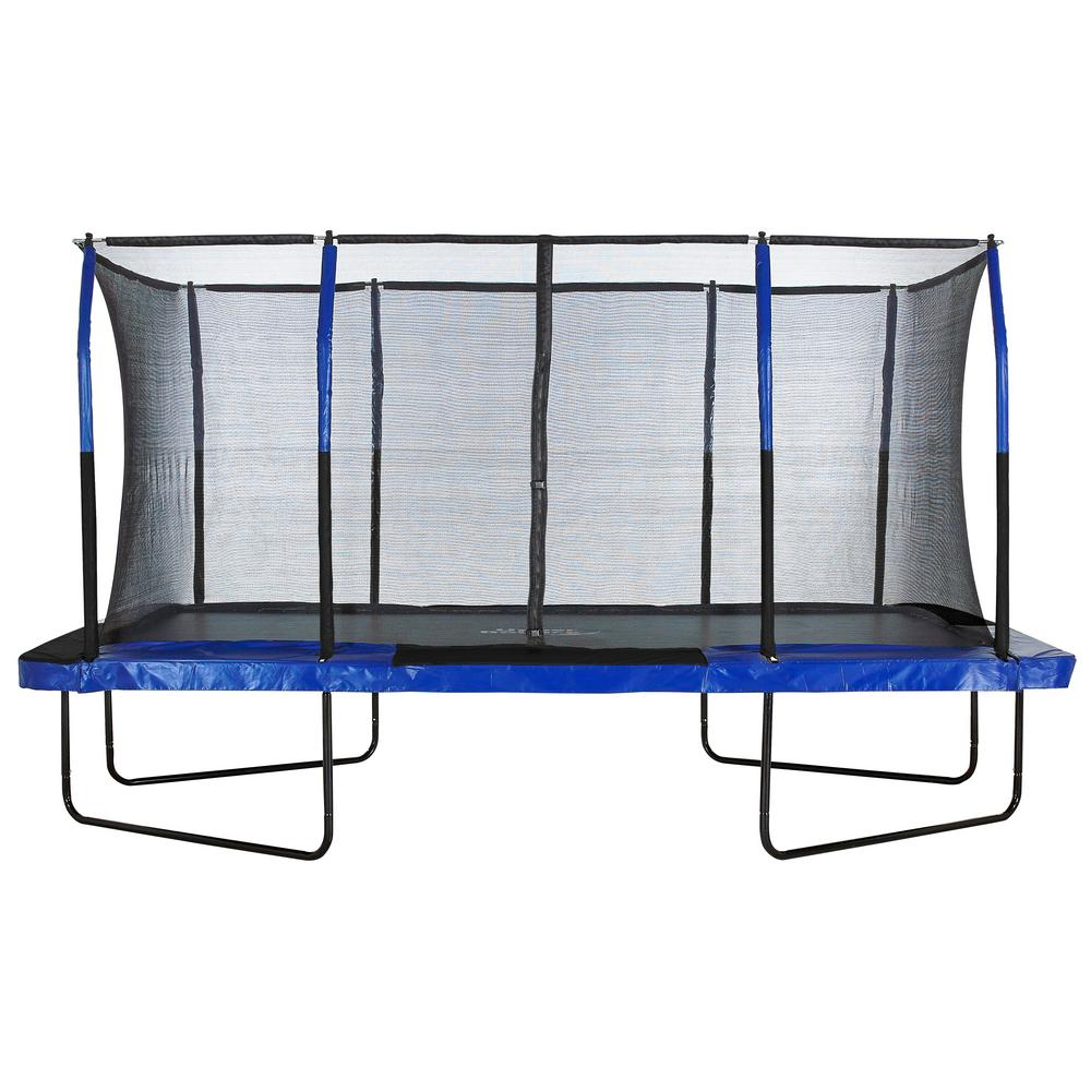 "Easy Assemble ""Spacious"" 8"" X 14"" Rectangular Trampoline with Fiber Flex Enclosure Feature"