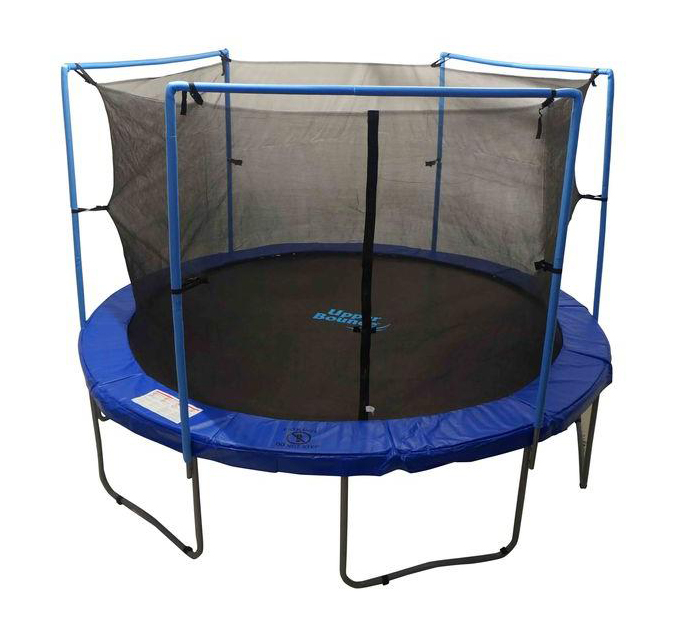 13' Trampoline Enclosure Safety Net 13 ft. Round Frames Using 2 Arches With Straps