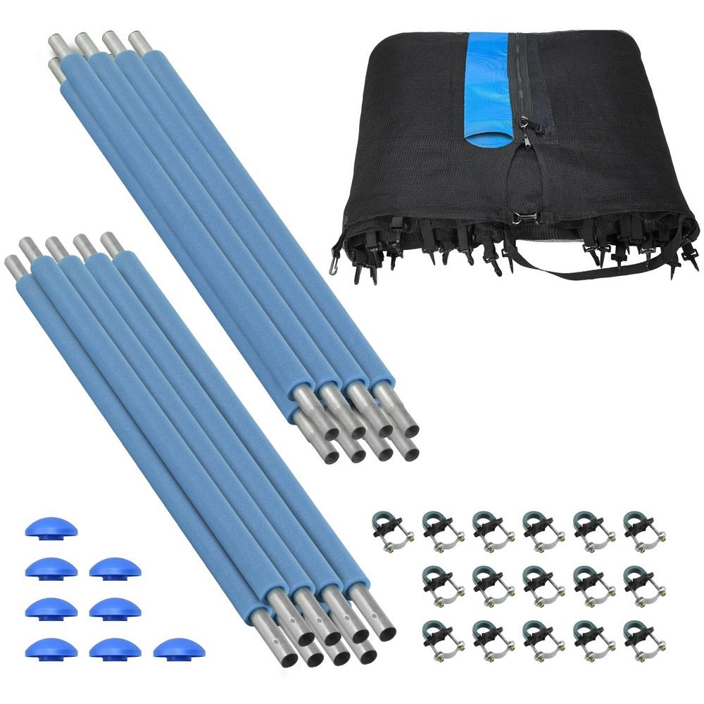 8 Pole Trampoline Enclosure Set to fit 14 FT. Frames with set of 4 or 8 W-Shaped Legs (Trampoline Not In