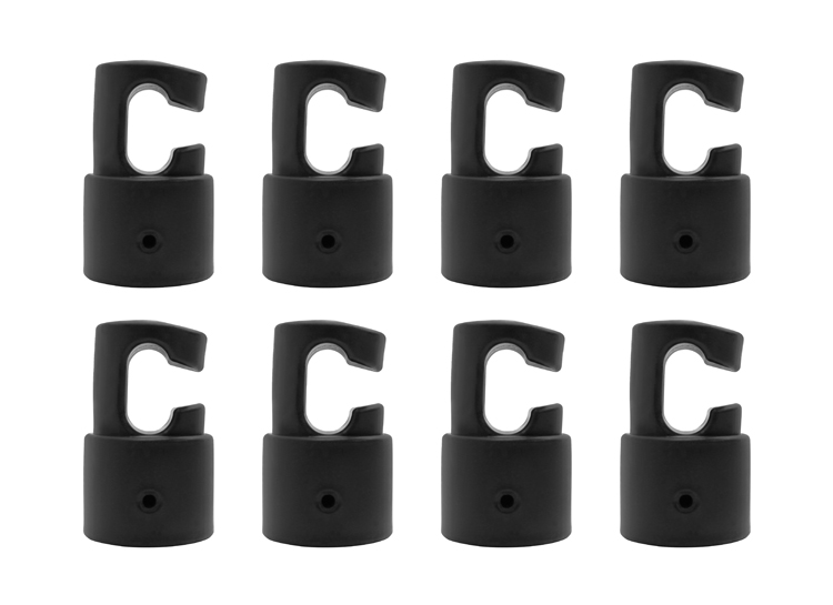 """Enclosure G shaped Pole Caps to use for Fiber Glass or Metal Rings on Top of Trampoline -Fits for 1.5"""" Diameter Pole- Set of 8"""