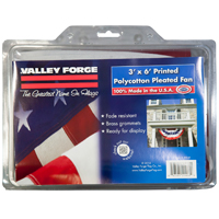 Valley Forge PFF-ST Pleated Full Fan Flag with Star and Stripes, 3 ft W x 6 ft L, Polycotton
