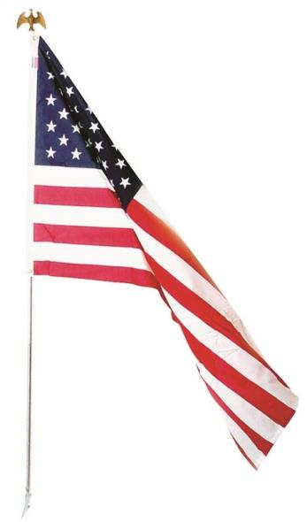 Valley Forge US1-1 PVC Bagged USA Flag Kit, 3 ft W x 5 ft L, Polycotton