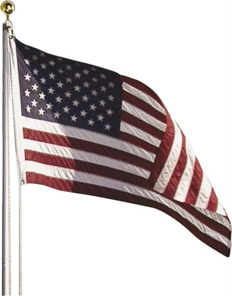 3-Feet By 5-Feet Nylon Us Flag Kit With 20-Foot Aluminum In-Ground Pole & Hardware