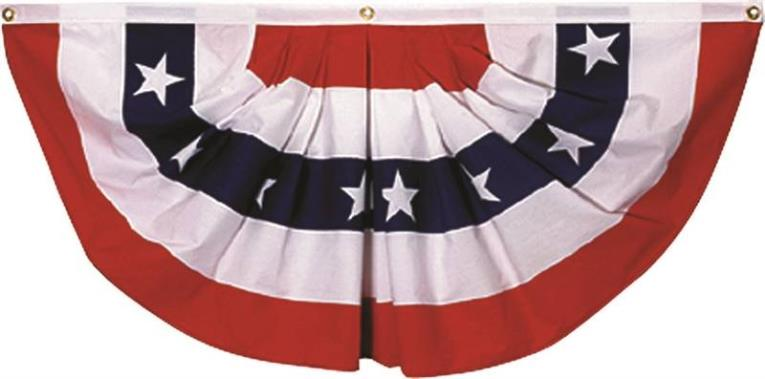 Valley Forge PMF Pleated Mini Fan Flag with Stars, 1-1/2 ft W x 3 ft L, Polycotton
