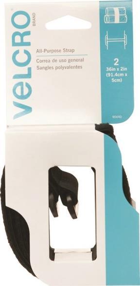 Velcro 90440 Heavy Duty Cinch Strap, 2 in W x 36 in L, Velcro, Black