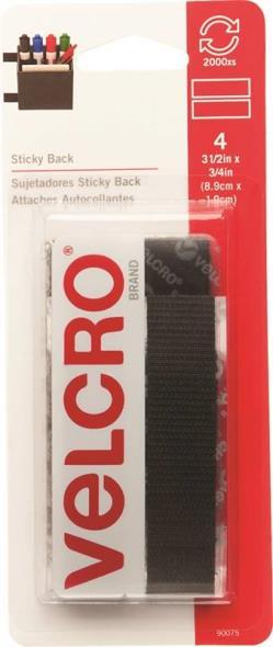 Sticky Back 90075 Fastener Strip, 3-1/2 in L x 3/4 in W, Black