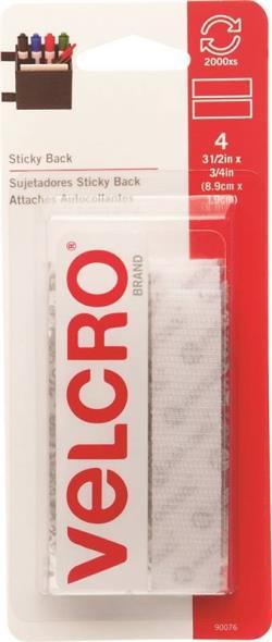 Sticky Back 90076 Fastener Strip, 3-1/2 in L x 3/4 in W, White