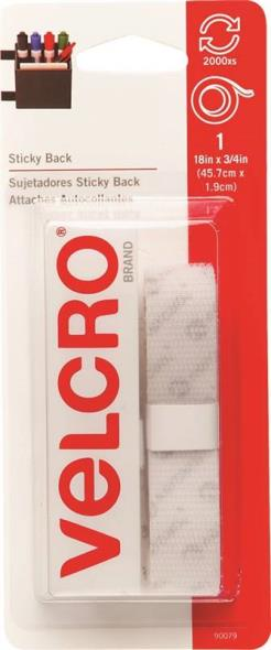 Sticky Back 90079 Hook and Loop Tape, 18 in L X 3/4 in W, White