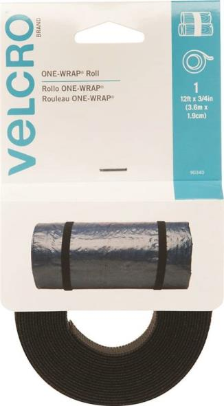 One-Wrap 90340 Adjustable Reusable Fasteners Strap, 3/4 in W x 12 in L, Velcro, Black