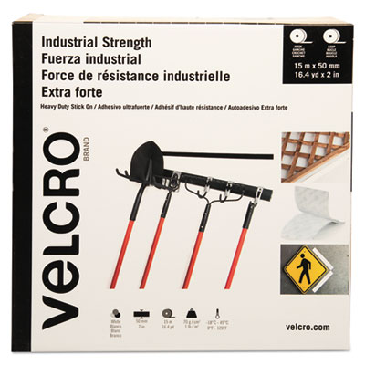 """Industrial Strength Hook & Loop Fasteners, 2"""" x 49 ft, White"""